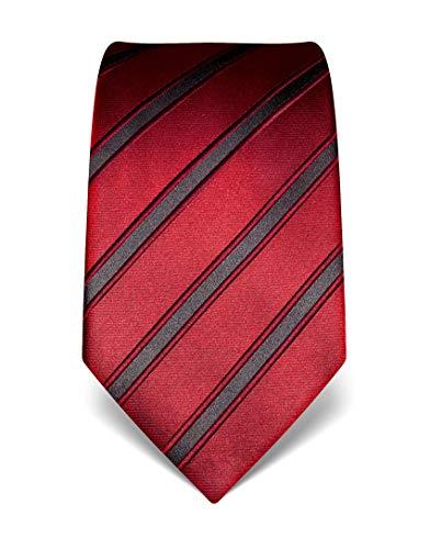 Vincenzo Boretti Herren Krawatte reine Seide gestreift edel Männer-Design zum Hemd mit Anzug für Business Hochzeit 8 cm schmal/breit weinrot