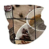 Q&SZ Sweatshirt Outdoor Headband Brown Coffee Themed Collage Close Up Mugs Beans On Wooden Table Aromatic Roasted Espresso Drink Brown Scarf Neck Gaiter Face Bandana Scarf Head Scarf