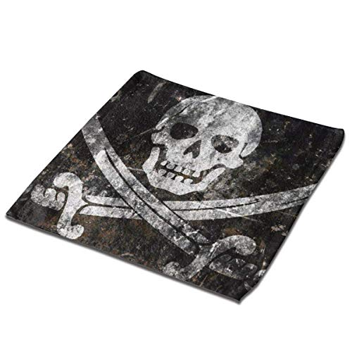 Yuanmeiju Toalla Cuadrada Black Pearl Pirate Flag Square Washcloths Face Wash Cloth Fingertip Towel Rags Soft Merch Gift and Absorbent 13 x 13 Inches