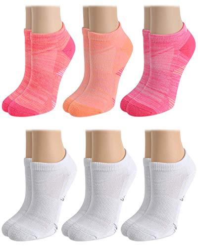 Avia Women's Performance Cushioned Moisture Wicking Low Cut Socks (6 Pack), Pink, Shoe Size: 4 - 10