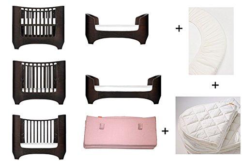 walnuss Leander Baby- und Juniorbett + 1 Set (= 2 Stück) Original-Spannbetttücher in der Babygröße + 1 Matratzenauflage in der Babygröße + Babynestchen in soft pink