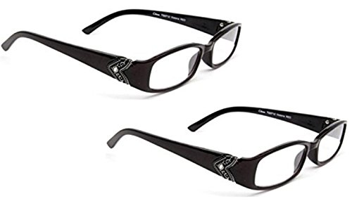 2 Pairs Foster Grant Women's Victoria Oval Black Reading Glasses (+2.50)