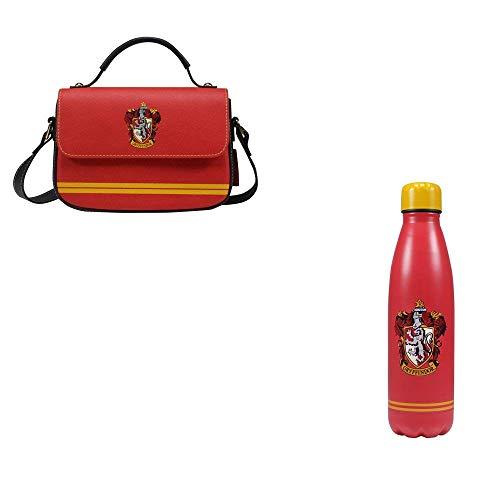 udc Half Moon Bay – Duo Griffondor – offizielles Lizenzprodukt – Handtasche (mit Trageriemen) 17 x 19 x 2 cm + Isolierflasche aus Edelstahl (500 ml 27 x 7 cm)