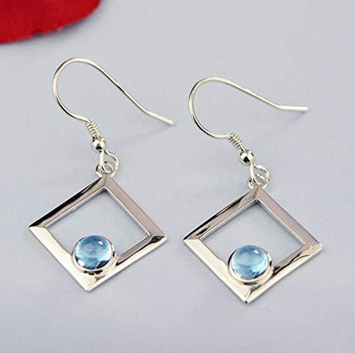 WOZUIMEI Chinese Style Earrings Eardrop 925 Silver Jewelry Natural Topaz Earrings Garnet Earrings Peridot Geometric Fashion Female EarringsTopaz