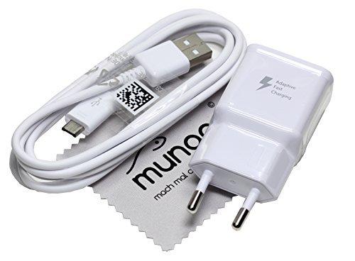 Cargador para Original Flash rápido Samsung 2 A USB + 1,5 m Cable de carga de datos para Samsung Galaxy Tab A 9.7 (T550/T555), Galaxy Tab A 10.1 (T580/T585) con mungoo pantalla paño de limpieza