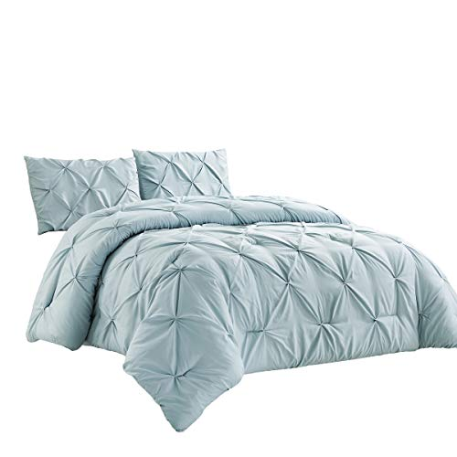 WPM 3 Piece Microfiber Comforter Set Pinch Pleat Pintuck Down Alternative Bedding - All Season Blue Bedroom Decor- JN1 (Blue, Queen)