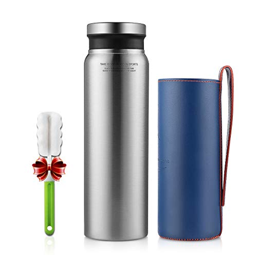 Stainless Steel Water Bottle - 25oz, Double Wall Vacuum Insulated Water Bottle, Wide Mouth, Perfect for Outdoor Sports (Silver)