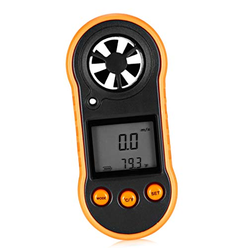 pb+ Windmesser Anemometer Digitaler Handheld Windmesser Digital LCD Wind Speed Meter Gauge PräZise Messung Der Windgeschwindigkeit für Wetterdaten und Outdoor-Sport Windsurfen Segeln