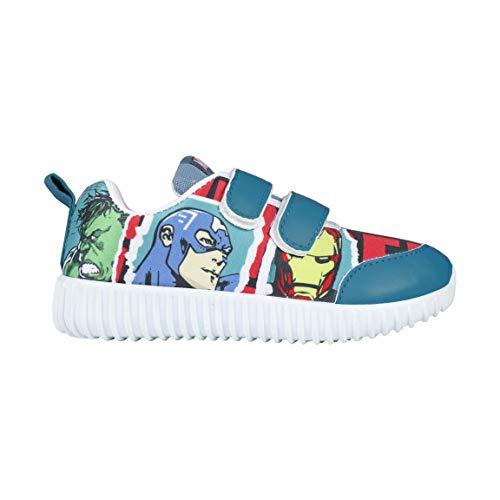 Marvel Avengers | Deportivas de Suela Ligera para Niños | Zapatos | Zapatillas | Increíble Diseño | Hulk | Capitán América | Hombre de Hierro | Thor | (24 EU, Deportivas Suela Ligera Avengers)