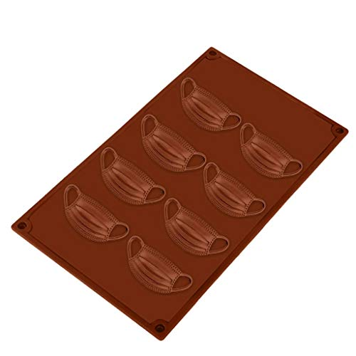 Silicone Molds for Baking, 8 Holes DIY Chocolate Mold, Silicone Baking Mold, 3D Mask Shape Silicone Cake Mold Muffin Chocolate Cookie Baking Mould Pan (Coffee, One Size)