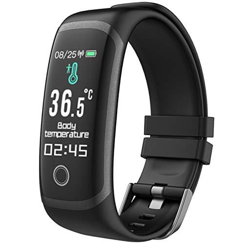 T4 Smart Watch Cuerpo Temperatura Medir Pulsera Tasa del corazón Monitor de la presión Arterial Hombres Mujeres Deporte Fitness Tracker Watch,A