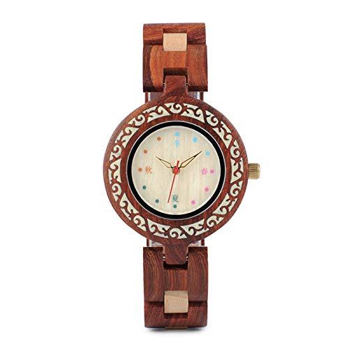 Qxue Bobo Bird - Reloj de Pulsera para Mujer, Hecho a Mano, de Madera, Exquisito y Ligero, de Madera de sándalo Natural con Cierre de Pulsera -, A