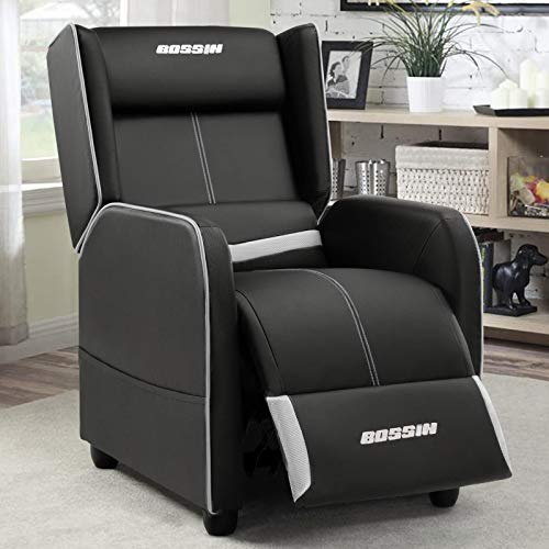BOSSIN Gaming Recliner Chair Single Recliner Sofa PU Leather Recliner Seating Sofa Ergonomic Lounge Recliner Chair Home Movie Theater Seating Sofa for Living Room (White)