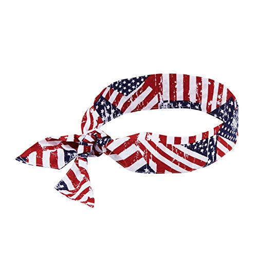 Ergodyne Chill Its 6700 Cooling Bandana, Evaporative Polymer Crystals For Cooling Relief, Tie For Adjustable Fit, Stars and Stripes