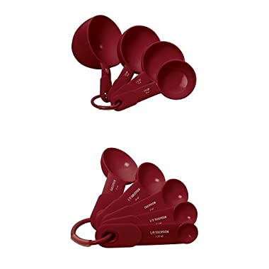 KitchenAid 9-Piece Plastic Measuring Cups and Spoons Set, Red
