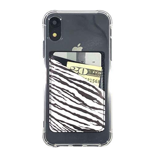 Ac.y.c Handy-Kartenhalter, ultradünn, PU-Leder, 3M-Klebeband, zum Aufkleben, für Ausweise, Kreditkarten, Brieftasche, Aufkleber, Tasche für Rückseite von iPhone, Android und Smartphones (Zebra)