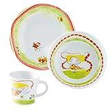 Kahla 32D200O76646C Kids Blumenfee Porzellan Kindergeschirr-Set Geschirr-Set für Mädchen bunt rund 3 teilig Set Tasse Suppenteller Teller