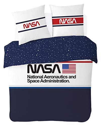 NASA Parure de lit 200x200 cm 100% Coton, Bleu/Blanc, 200x200cm