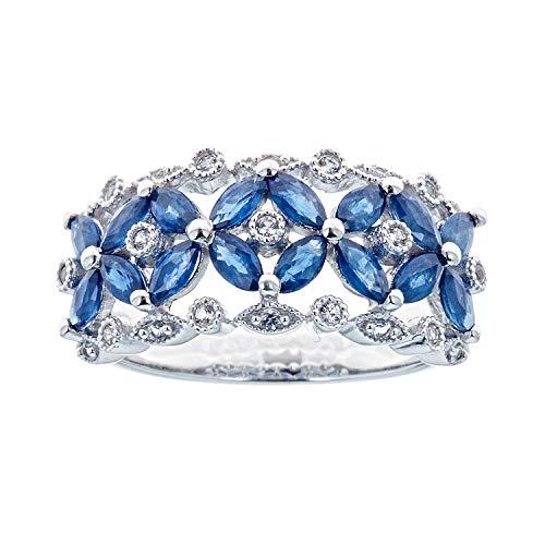 Gin & Grace 925 genuino marquesa azul zafiro diamante (I1, I2) Proponer la boda Promise Ring para la Mujer