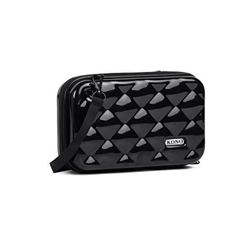 Kono Multifaceted Diamond Travel Clutch Hard Shell Waterproof Mini Cosmetics Handbag Box (Black)