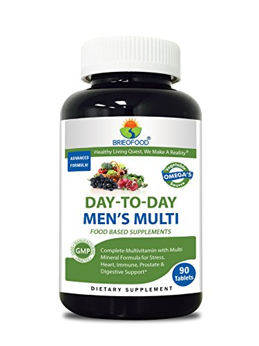 Briofood Food Based Multivitamin with Vegetable Source Omega Day-to-Day Men's Multi Tablets, 90 Count