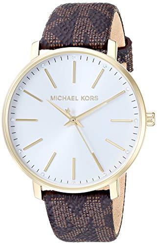 Michael Kors Women's Pyper Stainless Steel Quartz Watch with Plastic Strap, Brown, 18 (Model: MK2857)