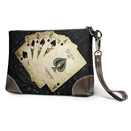 Echt lederen portemonnees voor vrouwen rits rond polsband lange portemonnee vintage reliëf rundleer Clutch Cards Poker het spel digitale kunst aas van schoppen kaart