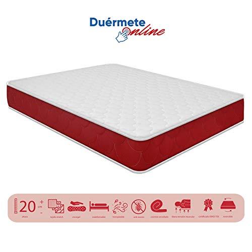 Duermete viscoelástico Lite Reversible (colchón a 2 Caras), Muy Transpirable, Blanco, 80 x 190