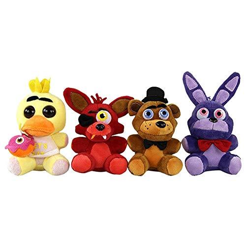 DDG EDMMS Plüsch-Spielzeug, Motiv Five Nights in Freddy's Themed Muster, gefülltes Tierspielzeug, Kindergeschenke, 4 Stück