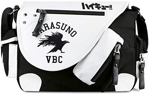Roffatide Anime Haikyuu Messenger Bag Canvas Crossbody Bag Flap Synthetic Leather Print Shoulder Bag Satchel School Bag