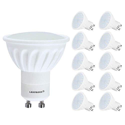 Lampaous® LED GU10, Lot de 10 ampoules,GU10 LED culot,4000k blanc pur 450lm,5w led remplace parfaitement les ampoules halogènes ordinaires de 50w.