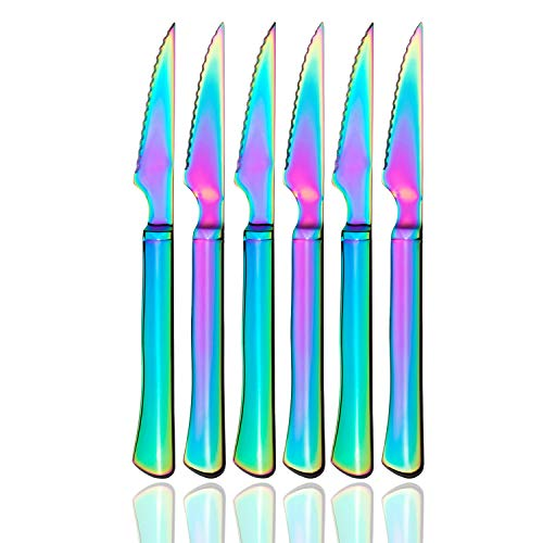 Multi-color Ultra-Sharp Serrated Solid Handle Steak Knives, Colorful Silverware Flatware Cutlery Set of 6-Piece, Iridescent Stainless Steel Utensils, Dishwasher Safe (Mirror Rainbow)