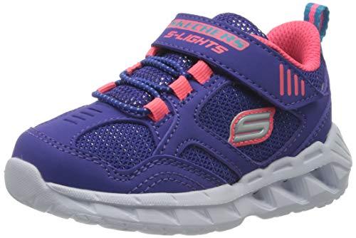Skechers Jungen Mädchen Magna-Lights Sneaker, Blau (Blue Textile/Coral Trim Blcl), 21 EU