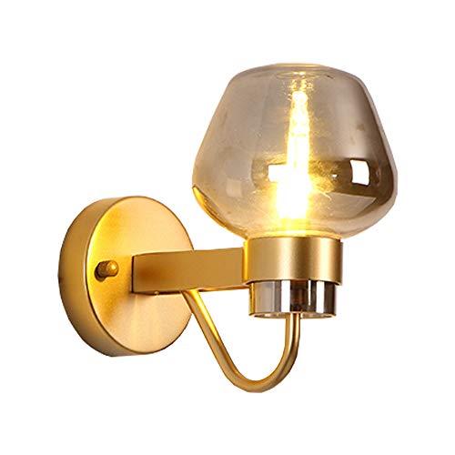 MagfylydL Rustieke led-glazen wandlamp, hedendaagse retro smeedijzer, zwart/goud, wandlamp, voor slaapkamer, woonkamer, hotelgang