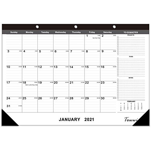 Towwi Monthly Desk Pad Calendar Desk/Wall Calendar for Daily Schedule Planner, 16.8x11.7 inches (Black)