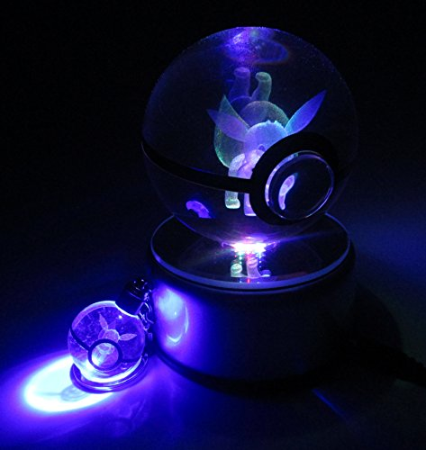 Beyond Pokemon Eevee 3D Crystal Glass Pokeball LED Light Cosplay Replica Ball Prop & Free LED Pokemon Keychain Charm image
