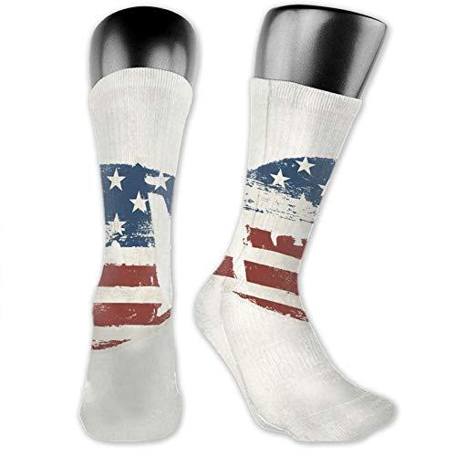 Socks Compression Medium Calf Crew Sock,Grunge American Flag Themed Stitched Rugby Ball Vintage Design Football Theme