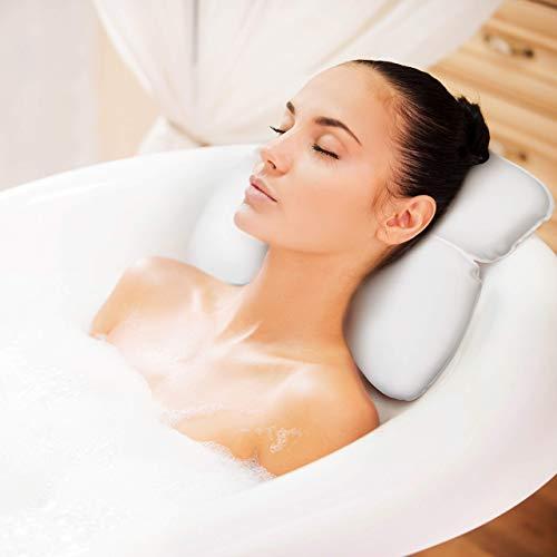 Badekissen | Spa-Kissen mit Kopfstütze Badewanne | Kopfstütze und Rückenlehne | Komfortables Nackenkissen Badewanne | 7 Rutschfeste Saugnäpfe Badewanne Kopfkissen | Perfektes Geschenk