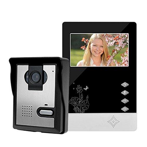 LIBO Inteligente Casa Videoportero Interfono 4.3inch Visión Nocturna Infrarroja 25 Tonos de llamada IP54 Impermeable Para el Sistema de Entrada de Puerta
