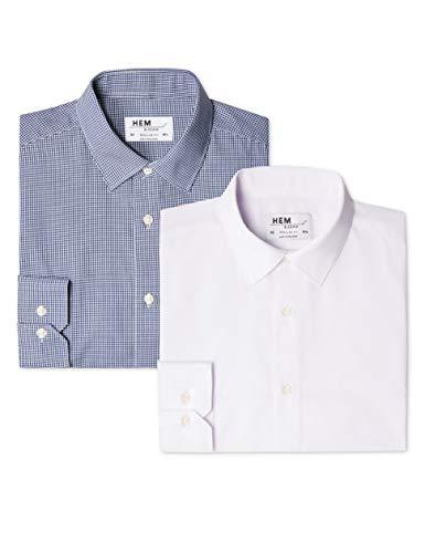 Marca Amazon - find. Camisa de Cuadros Regular Fit Hombre, P
