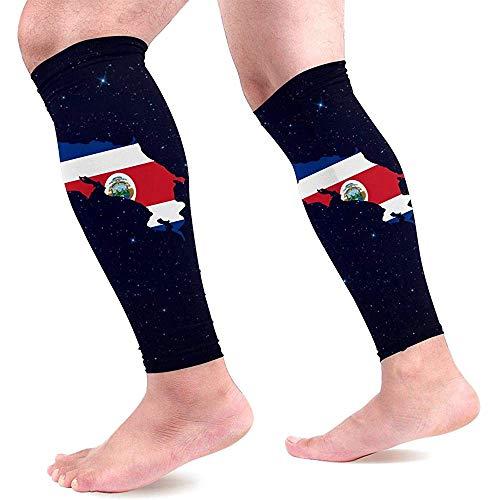Costa Rica Kaart Kalf Compressie Mouwen Unisex Gegradueerde Compressie Sokken voor Hardlopen Been Pijn 1 Paar