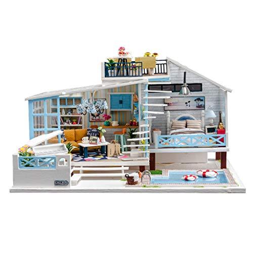 Gpure Casa de Muñecos Madera Llanura DIY 3D Juegos De Construcción con Muebles y Accesorios Conmemorativas De Adornes para Niños Adulto Juguetes Maqueta De Fiesta Divertido Regalos De Cumpleaños