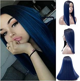 Royalvirgin Ombre Peluca azul con raíces oscuras largas rectas sin encaje pelucas para mujer pelo sintético resistente al calor de repuesto pelucas