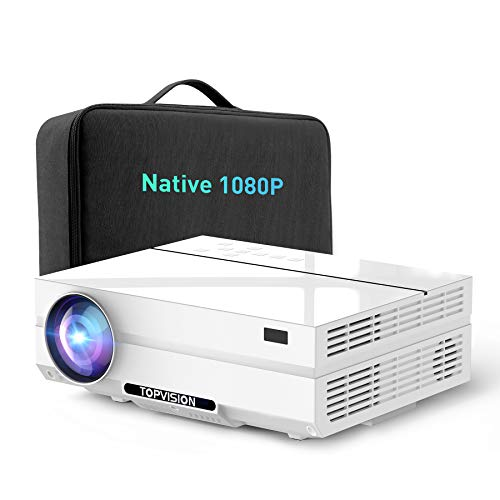 Projector Native 1080P, TOPVISION Movie Projector Full HD Video Projector for Outdoor Movie Night Projector Compatible with TV Stick,HDMI,VGA,USB, Smartphone,PC,Xbox Carrying Case Included