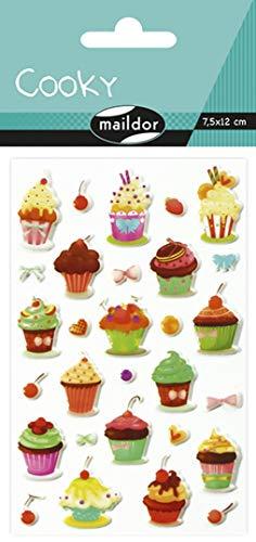 Maildor 560373C Packung mit Stickers Cooky 3D (1 Bogen, 7,5 x 12 cm, ideal zum Dekorieren, Sammeln oder Verschenken, Cakes) 1 Pack