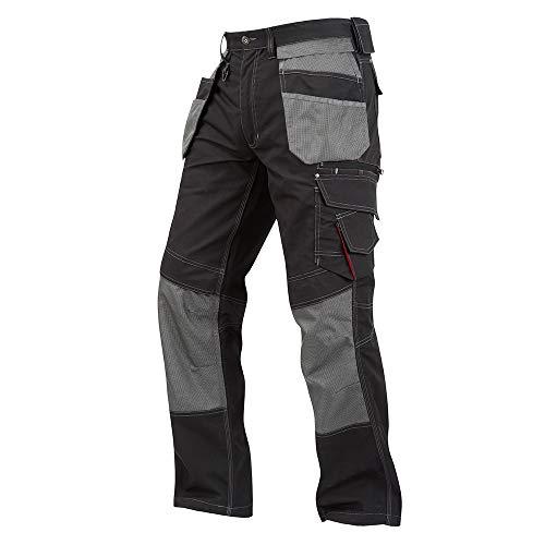 Lee Cooper Werkkleding LCPNT224 Mens Contrast Multi & Holster Pocket Kneepad Werk Veiligheid Cargo Broek Zwart/Grijs, Maat 30 Korte