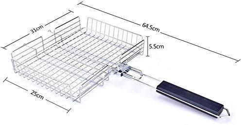 41dqKsbdpeL - Grillkorb Antihaft-Rechteck-Grillrost Faltbar Edelstahl-Grill Grill Gemüsekorb-Set mit Holzgriff Grillzubehör Werkzeuge lili