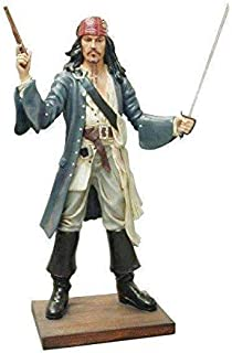 LM Treasures Pirate Captain Jack Sparrow with Gun Life Size Statue Resin Decor