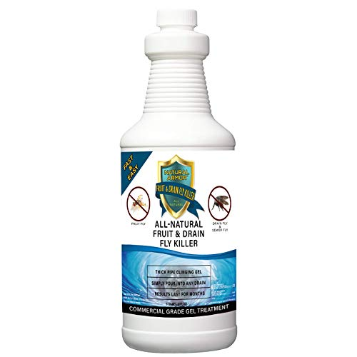 Fruit Fly & Drain Fly Killer - Simple Commercial Drain Gel Treatment – Eliminates Gross Fruit Flies, Drain Flies, Sewer Flies & Gnat Infestations From Any Drain. Fast & Easy (32 OZ - QUART)