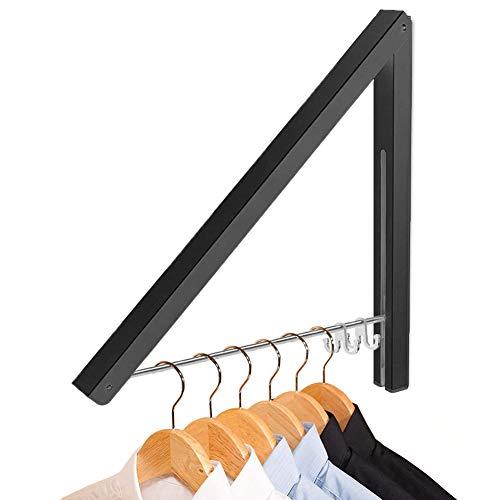 LIVEHITOP Kleiderhaken Wand Klappbar, Aluminium Kleiderbügel Kleiderlüfter Wandgarderobe Kleiderständer Haken Halter für Schlafzimmer, Badezimmer, Balkon (Schwarz,1)